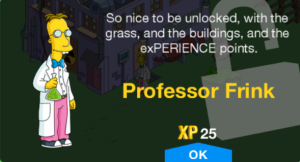 Tapped_Out_Professor_Frink unlock message