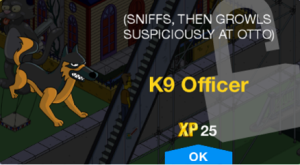 Tapped Out K9 Officer unlockmessage