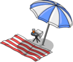 beach towel and umbrella