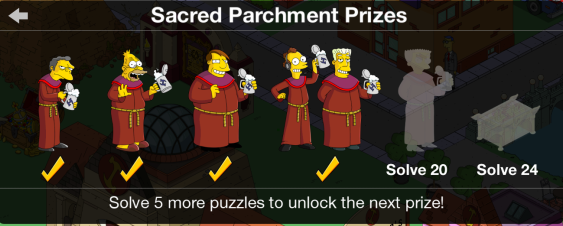 Sacred Parchment Prizes: Fourth Prizes at Fifteen Puzzles Solved #66