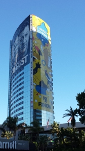 Simpsons skin on building SDCC 2014