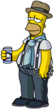 Cool Homer enjoy Blue Ribbon