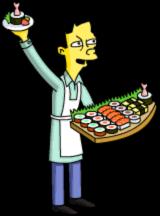 Akira hand out sushi samples 1