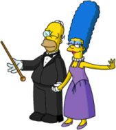 Marge and Homer romantic