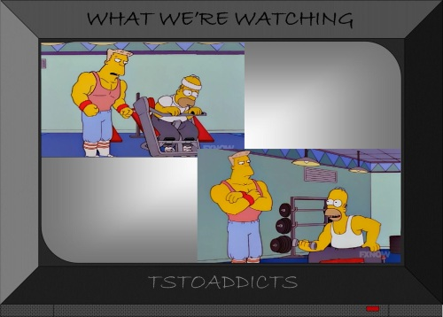 All Night Gym Simpsons Wolfcastle trains Homer