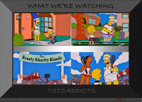 The Simpsons play tennis Krusty Kharity Klassic