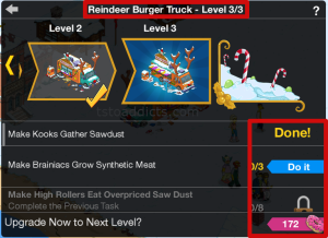 Reindeer Burger Truck Level Screen