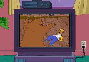 Bear attacking Homer