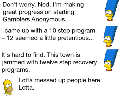 Marge TSTO Dialogue Gamblers Anonymous