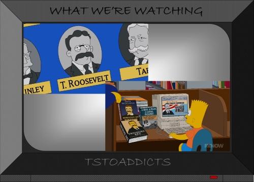 Bart Simpson studies Theodore Roosevelt