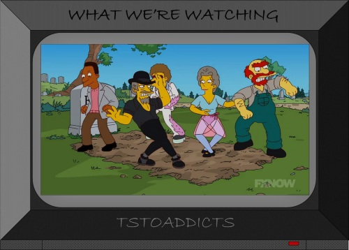 Chazz Busby, Lil Vicki Valentine, Disco Stu, Willie and Carl dancing on Mr. Burns' grave Simpsons