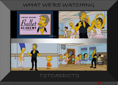 Chazz Busby teaches ballet to Marge and Lisa Simpsons