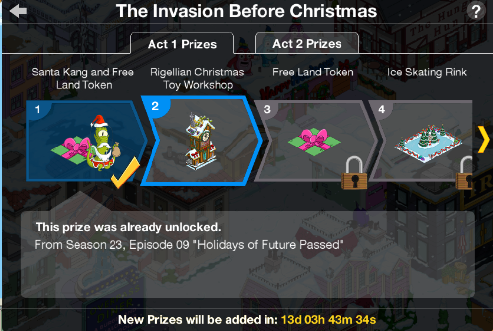 The simpsons tapped out christmas 2018 prizes part 2