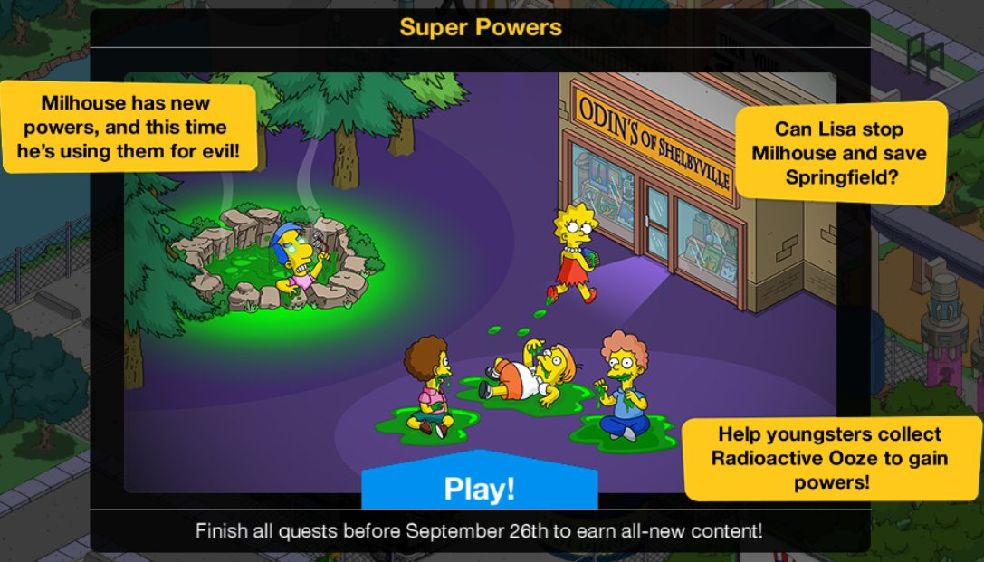 Update Time: Super Powers Mini EventThe Simpsons Tapped Out